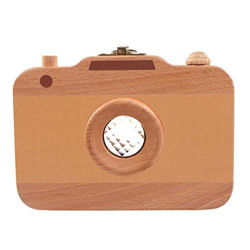 Zahnbox Holz Milchzähne Box Baby Tooth Keepsake Box, hölzerne Kamera Form Zahn Aufbewahrungsbox für Baby Kids