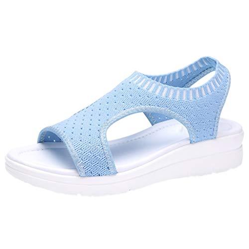 ZIYOU Plateau Sandalen Frauen Atmungsaktiv Komfort Aushöhlen Lässige Sport Wedges Tuch Schuhe (Himmelblau,44 EU)