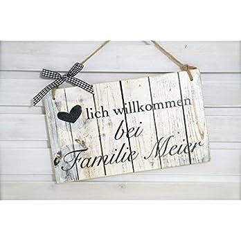 """Türschild aus Holz mit dem Name der Familie – Haustürschild im Vintage Stil""""Willkommen bei Familie"""""""