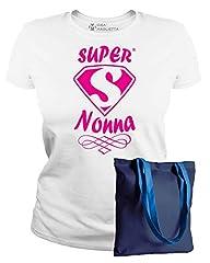 Idea Regalo - IDEAMAGLIETTA NON0011 Maglietta Super Nonna T-Shirt Festa della Mamma Idea Regalo (XL, Bianco)