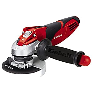 Einhell TE-AG 115 – Amoladora angular, mango auxiliar regulable, disco de 115 mm, 11000 rpm, 720 W, 230 V, color negro y rojo