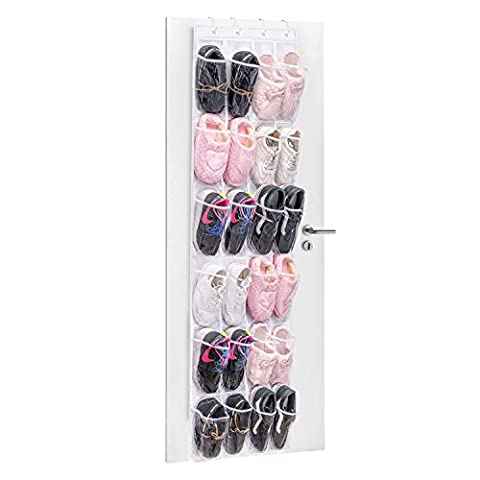 Ndier 24-Pockets Over the Door Organizer Shoe Racks Storage Hanging Bag Shoe Racks Foldable Wardrobes Storage Bag with Hooks , Space-saving Household Item , Best Gift for Your Mom and Girlfriend