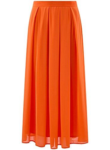 oodji Collection Donna Gonna Midi in Tessuto Fluido e Pieghe Morbide Arancione (5500N)