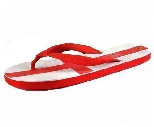 Herren Flip Flops Sandalen - St. George Kreuz England - Rot Weiß - EU 41-45 Weiß / Rot