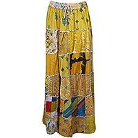 Women Long Skirt Yellow Green Vintage Printed Patchwork Rayon Dori Skirts S/M