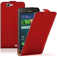 Membrane - Ultra Slim Rojo Funda Carcasa para Huawei Ascend G7 - Flip Case Cover + 2 Protector de Pantalla
