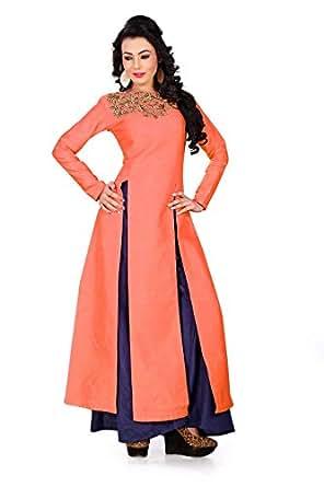 PURVA ART Women's Bangalori Silk Top with Plazzo(PA_2203_(Coral) Orange Free Size)
