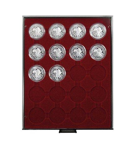 Lindner 2944 Münzenbox mit 20 runden Vertiefungen für Münzenkapseln mit Außen-Ø 44 mm-Rauchglas / dunkelrote Einlag