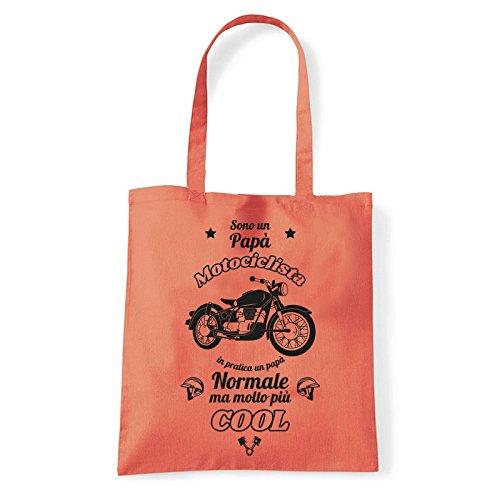 Art T-shirt, Borsa Shoulder Papà Motociclista, Shopper, Mare Corallo
