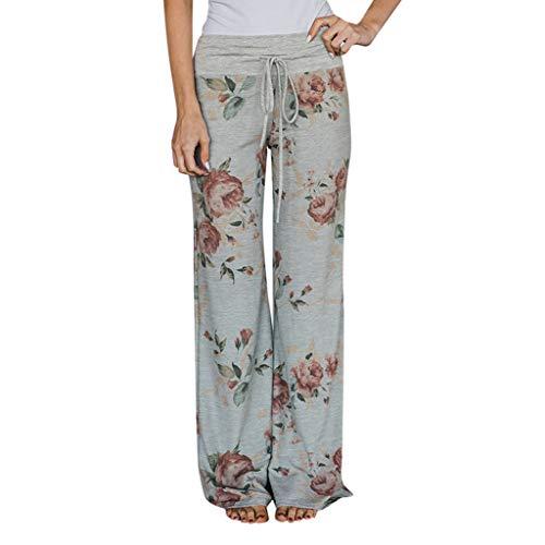 Damen-Hose, modischer Druck, Blumenmuster, Freizeit, weite Beine, Yoga-Hose, für Herbst Casual XL grau