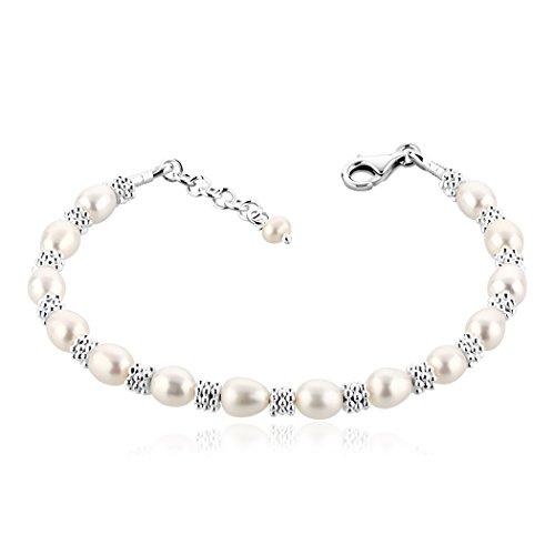 Nenalina Armschmuck mit blumenartigen Silber Beads
