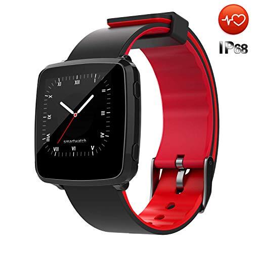 CanMixs Smart Watch Intelligente Uhr imprägniern IP67 CM09 Fitness-Verfolger mit Herz Pulsmesser Schrittzähler-Schlaf-Monitor-Stoppuhr SMS Anruf-Mitteilung Fernkamera-Musik kompatibel mit iOS Android