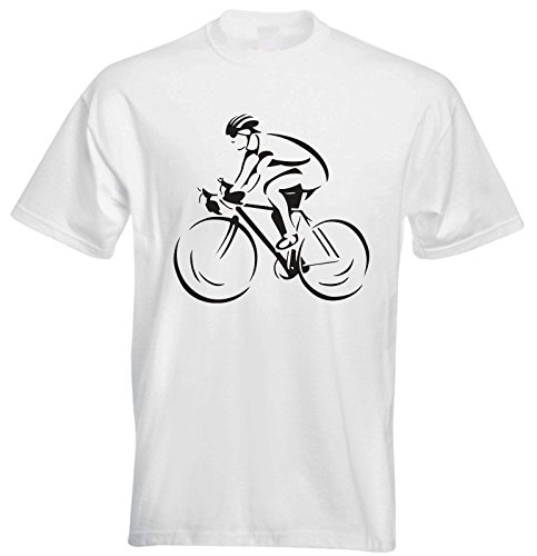 Cyclist Bicycle Cycling Hobby Sport Race Game spinning Gym Graphic Mens T shirt- White Mens Tee