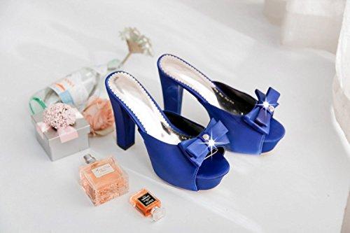 ZYUSHIZ Bow Tie künstliche Bohren elegante High-Heel, wasserdichte Desktop Dick mit Sandalen Hausschuhe Blau