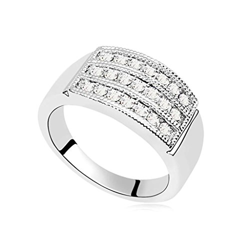 Epinki Gold Plated Ring for Women White Wedding Ring Rectangle 3 Zirconia Lines Ring Size 17