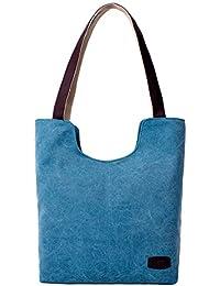 Hiigoo Simple Portable Bags Canvas Tote Bag Casual Shoulder Bag Bigger Handbag - B01HRS8QA8