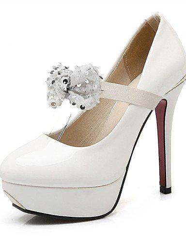 WSS 2016 Chaussures Femme-Mariage / Habillé / Décontracté / Soirée & Evénement-Noir / Rouge / Blanc-Talon Aiguille-Talons-Talons-Cuir Verni red-us4-4.5 / eu34 / uk2-2.5 / cn33