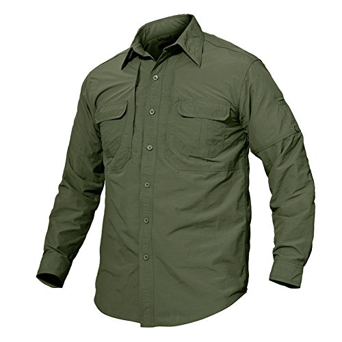 TACVASEN Men's Quick Dry UV Protection Long Sleeve Button Down Shirt for Casual & Outdoor