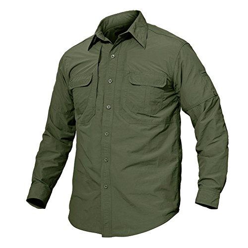 Tacvasen camicia a maniche lunghe outdoor asciuga rapidamente protezione uv camicia, uomo, verde militare, de m