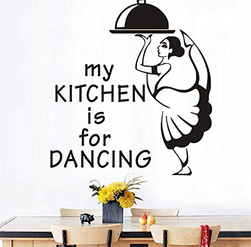 Mrlwy Meine Küche Ist Zum Tanzen Kellnerin Mit Mahlzeit Abnehmbare Wandaufkleber Küche Restaurant Farbe Rot Abziehbilder Wandbild 44X48 Cm