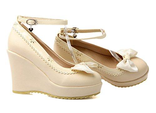 YE Damen Rund Geschlossen Riemchen High Heels Plateau Pumps mit Schleife und Keilabsatz Süß Bequem Schuhe Beige