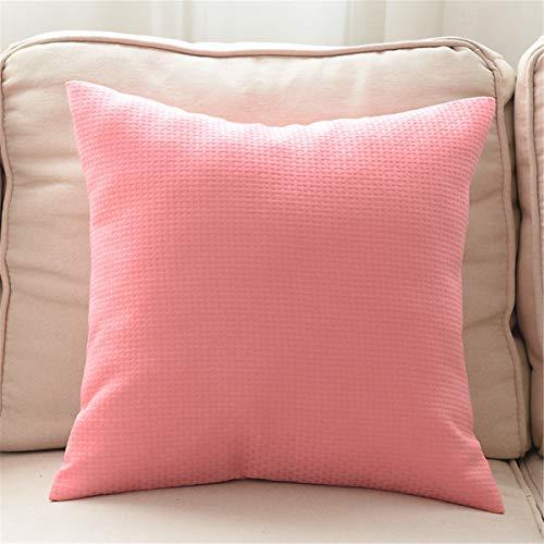 PENG Reine Farbe Rattan Geflecht Pattern Kissen Bettwäsche Sofa Kissen Kissen Candy Farbe Taille Kopfkissenbezug Rückenpolster Set 1, (18 * 18 Zoll)