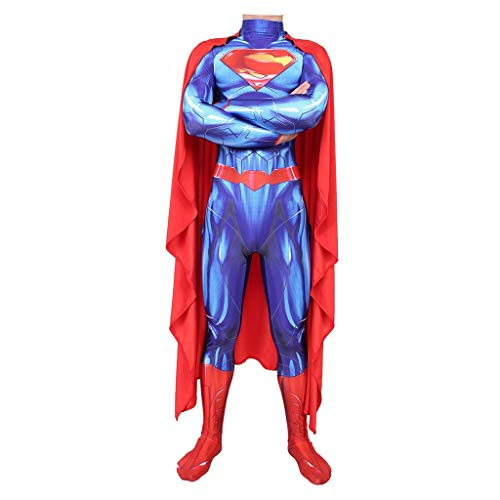 YEGEYA Cosplay Kostüm Halloween Superman Overall Strumpfhose Erwachsene Kinder Party Requisiten (Blau) (Color : Adult, Size : - Superman Neue Kostüm Blau
