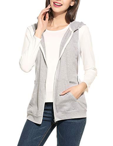 Parabler Damen Weste Ärmellos Jacke mit Kapuze Taschen Reverskragen Freizeit Sport Hoodie Dunkelgrau Dunkelgrau EU 36(Herstellergröße:S)