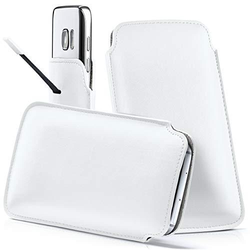 moex Samsung B2710 | Hülle Weiß Sleeve Slide Cover Ultra-Slim Schutzhülle Dünn Handyhülle für Samsung B2710 Case Full Body Handytasche Kunst-Leder Tasche