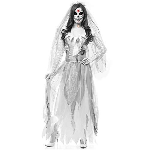 Erwachsene KostüM Kleid, Mantel Ghostly Bride Halloween Costume Vampire Party Cosplay Geisterbraut Abendkleid Karneval FüR Damen Dame AusfüHren KostüMe Zombie Braut Vampir Dress - Gespenst Piraten Kostüm Weiblich