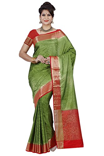 Mimosa By Kupinda Women's Tusser Silk Saree Kanjivaram Style Color :Olive (3397-2073-OLV-RD)  available at amazon for Rs.1399