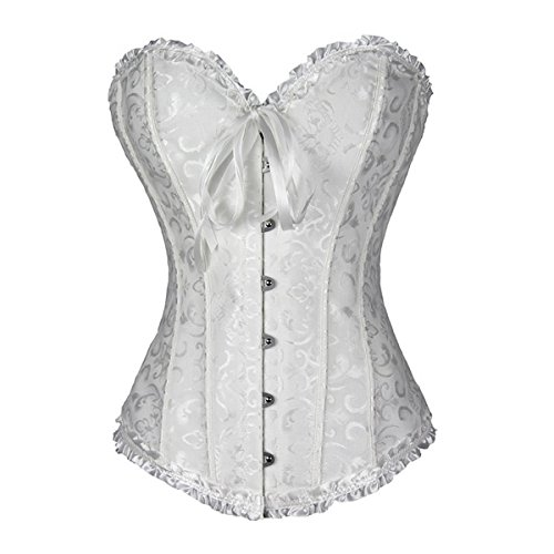 E-Girl Tapisserie de fleurs corset avec G-String, Blanc, XXXXXL