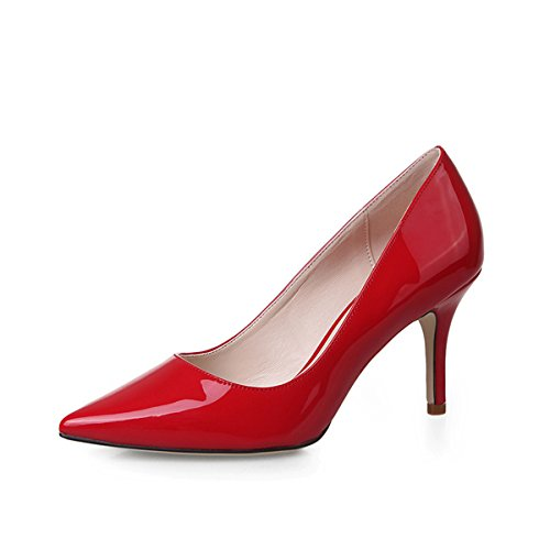 Damen Pumps OL Lackleder Spitz Zehen Elegant Rutschhemmend Atmungsaktiv Bequem Modisch Büro Stiletto Rot