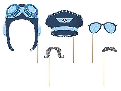 Piloten Foto-Accessoire 5 Stück Kindergeburtstag Foto-Requisiten Partyartikel mit Palandi® Sticker (Mit Pilotenmütze Brille)