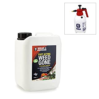 Spear and Jackson 5L Fast Acting Weed Gone Formula with 2L Pump Action Garden Sprayer