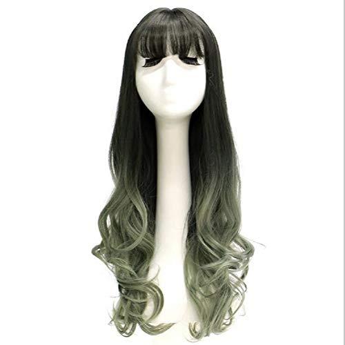 (Ladies Perücke lange lockige Haare große Welle Perücke schwarzbraune Gradienten graue Holz-Perücke)