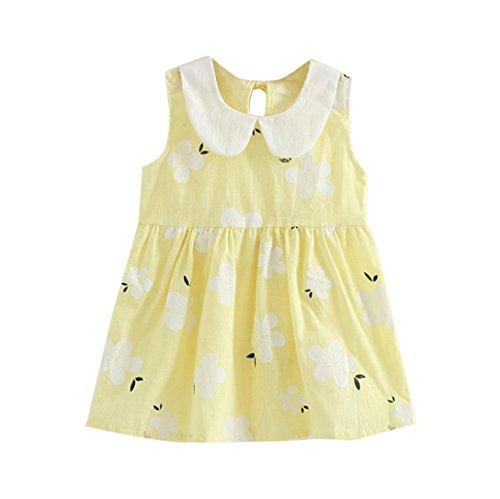 �dchen Sommer Prinzessin Kleid Kinder Baby Party Hochzeit Ärmellos Rock (100cm, Gelb) (Kinder-halloween-aktivitäten Blatt)