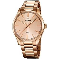 Festina - Reloj de cuarzo para hombre, correa de acero inoxidable chapado color oro rosa