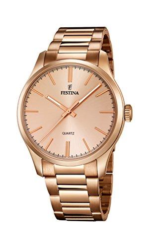 Festina – Reloj de cuarzo para hombre, correa de acero inoxidable chapado color oro rosa