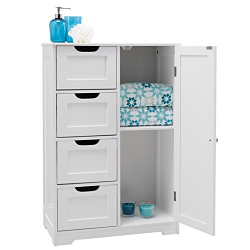 Portland 82x55x30cm white wooden bathroom cabinet four - Bathroom storage cabinet with drawers ...