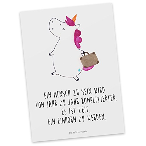 Mr. & Mrs. Panda Postkarte Einhorn Koffer - 100% handmade in Norddeutschland - Einhorn, unicorn, Einhörner, Koffer, Verreisen, Reise, Gepäck, Abenteuer, Erwachsen, Kind, albern, Spaß, lustig, witzig, Postkarte, Geschenkkarte, Grußkarte, Karte, Einladung (Abenteuer Reise-gepäck)