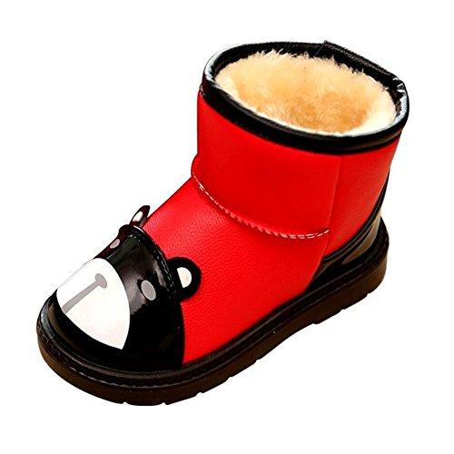 Fortuning's JDS Enfants Unisexe Hiver Chaude Panda PU Epaississant Enfants Bottes de neige Bottines Bottes courtes Rouge