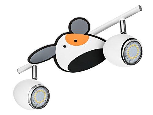BRITOP LIGHTING Kinderdeckenleuchte Modell Doggy Schienenleuchte 2 Spots, inklusive 2x GU10, 4,5 W, LED Hund chrom / weiß metall 2204202