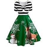 XINAINI Weihnachtskleid Damen Elegant Weihnachtspullover Weihnachtsdeko Cocktailkleid Printkleid - Kleider Sexy Gestreift Schlank - Weihnachtsmann Elch Schlitten Party Festlich Kleid(M,Grün)