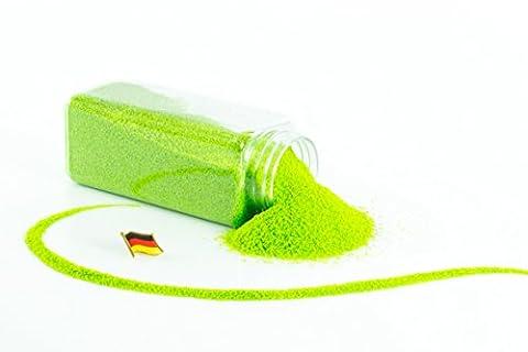Sable coloré / sable décoratif TIMON, vert po mme, 0,1-0,5 mm, bouteille de 605 ml, fabriqué en Allemagne - Sable fin décoratif - monsterkatz