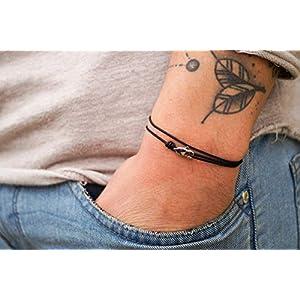 Dezentes Armband für Herren – edles Wickelarmband für Männer Minimalistisch – stufenlos verstellbar mit Karabiner-Haken Silber (Schwarz)