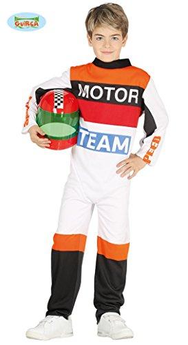 Generique - Rennfahrer Kostüm für Kinder Weiss-orange-schwarz 140/146 (10-12 Jahre)