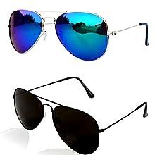 ff22c0930e6 Younky Aviator Combo Pack of Mirrored Unisex Sunglasses  (BlueMercury-BlackBlack) - 2 Boxes