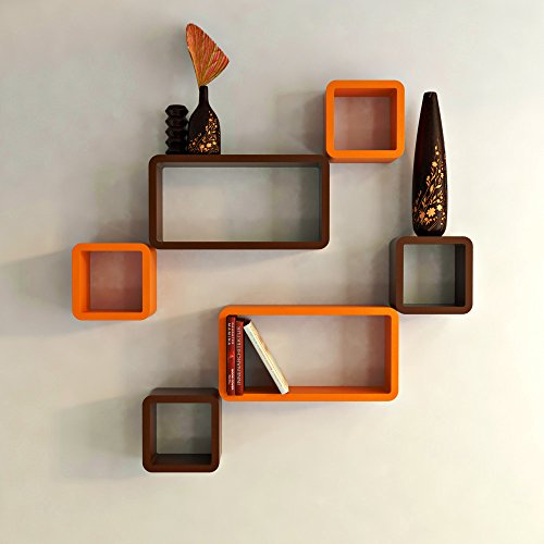 DecorNation Wall Shelf Set of Six Cube Rectangle Designer Wall Rack Shelves - Orange and Brown