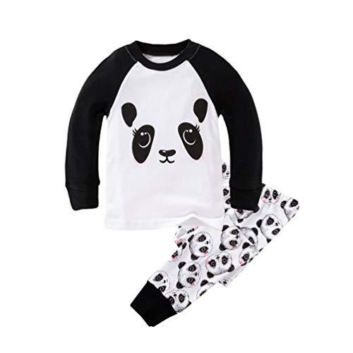 Stück 2 Stretch Kostüm - YuanDian Jungen Mädchen Weihnachten Cartoon Drucken Pyjama 2 Stück Kinder Nachtwäsche Langarm Tops Shirts & Hose Weihnachtskostüm Outfit Kind Kleidung Schlafanzug 80-130 Panda 7 Jahre